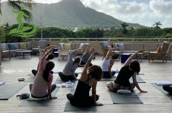 Backs of Female Yogis with View of Diamond Head in Background