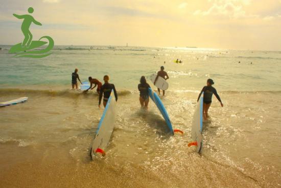 Group surfing at Waikiki Beach
